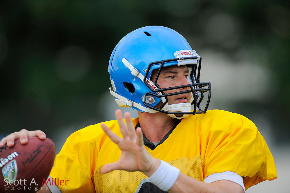 Aug. 25, 2010; Orlando, FL, USA;  Quarterback Brooks Bollinger (8) during Florida Tuskers training camp at Thunder Field in Orlando. ..©2010 Scott A. Miller
