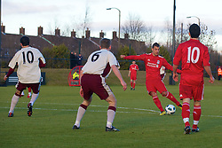 LIVERPOOL, ENGLAND - Tuesday, January 11, 2011: Liverpool's Nikola Saric scores the second goal against Sunderland with fellow goal-scorer Dani Pacheco during the FA Premiership Reserves League (Northern Division) match at the Kirkby Academy. (Pic by: David Rawcliffe/Propaganda)