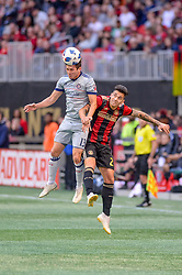 October 21, 2018 - Atlanta, GA, U.S. - ATLANTA, GA - OCTOBER 21: Chicago Fire midfielder Brandt Bronico (13) defends a ball against Atlanta United defender Franco Escobar (2) during the MLS game between the Atlanta United and the Chicago Fire on October 21, 2018 at the Mercedes-Benz Stadium in Atlanta, GA. Atlanta United FC secured a place in next year's CONCACAF Champions League with a 2-1 victory against the visiting Chicago Fire. (Photo by John Adams/Icon Sportswire) (Credit Image: © John Adams/Icon SMI via ZUMA Press)