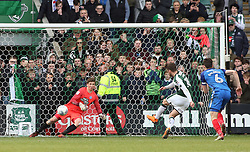 Graham Carey of Plymouth Argyle scores the winning goal from the penalty spot past Conor O'Malley of Peterborough United - Mandatory by-line: Joe Dent/JMP - 07/04/2018 - FOOTBALL - Home Park - Plymouth, England - Plymouth Argyle v Peterborough United - Sky Bet League One
