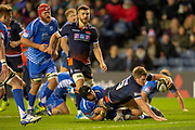 James Johnstone (#13) of Edinburgh Rugby scores the opening try for Edinburgh during the Guinness Pro 14 2018_19 match between Edinburgh Rugby and Dragons Rugby at BT Murrayfield Stadium, Edinburgh, Scotland on 15 February 2019.