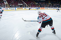 KELOWNA, CANADA - JANUARY 5: Nolan Foote #29 of the Kelowna Rockets makes a pass during first period against the Seattle Thunderbirds on January 5, 2017 at Prospera Place in Kelowna, British Columbia, Canada.  (Photo by Marissa Baecker/Shoot the Breeze)  *** Local Caption ***