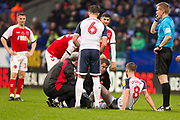 Bolton Wanderers midfielder Luke Murphy assisted by the medics  during the EFL Sky Bet League 1 match between Bolton Wanderers and Fleetwood Town at the University of  Bolton Stadium, Bolton, England on 2 November 2019.