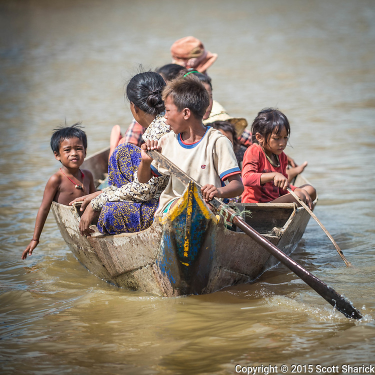 Boats are the main mode of transportation in the floating villages along the Tonle Sap in Cambodia.