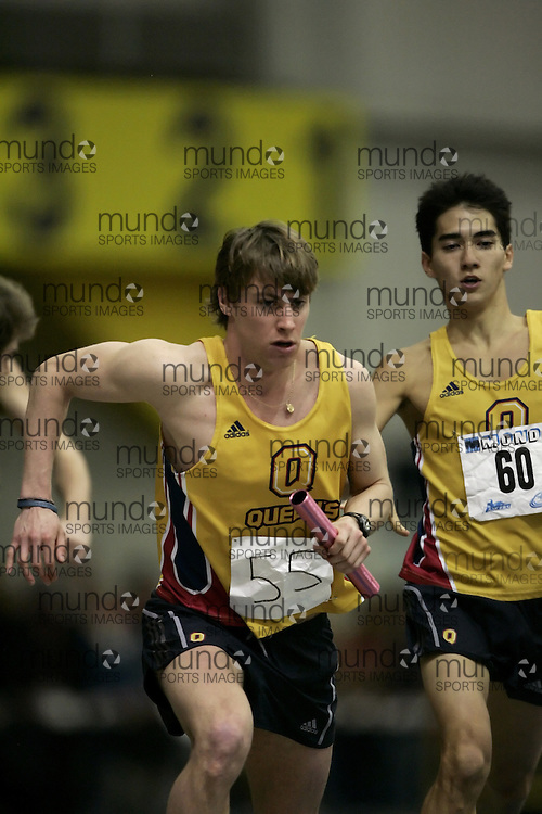 (Windsor, Ontario---12 March 2010) Matt Hulse of Queen's University Golden Gaels   competes in the 4x800m relay at the 2010 Canadian Interuniversity Sport Track and Field Championships at the St. Denis Center. Photograph copyright Nicole Osborne/Mundo Sport Images. www.mundosportimages.com