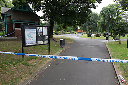 © Licensed to London News Pictures. 22/07/2016. LONDON, UK.  Police cordon around West Ham Lane Recreational Ground, known as Stratford Park on West Ham Lane in Stratford, where a man in his 20's was stabbed and killed yesterday afternoon. Two men were arrested nearby on suspicion of murder and taken into custody at an east London police station. Photo credit: Vickie Flores/LNP