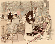 Taking refreshment on the terrace of a Parisian Café. Paris, France.  From 'Paris Brillant' by 'Mars' (Maurice Bonvoisin - 1849-1912) (Paris, c1890). Lithograph.