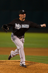 June 28, 2011; Oakland, CA, USA;  Florida Marlins relief pitcher Randy Choate (38) pitches against the Oakland Athletics during the eighth inning at the O.co Coliseum. Oakland defeated Florida 1-0.