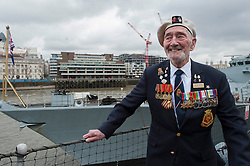 © licensed to London News Pictures. London, UK 15/03/2013. Frank Boyd, HMS Belfast Veteran celebrating HMS Belfast's 75th Anniversary with other veterans, navy personnel and City of London Sea Cadets in London on Friday 15 March 2013. Photo credit: Tolga Akmen/LNP