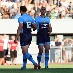 Francois Steyn and Ruan Pienaar of Montpellier during the test match between Montpellier and Lyon OU at Altrad Stadium on August 4, 2017 in Montpellier, France. (Photo by Alexandre Dimou/Icon Sport)
