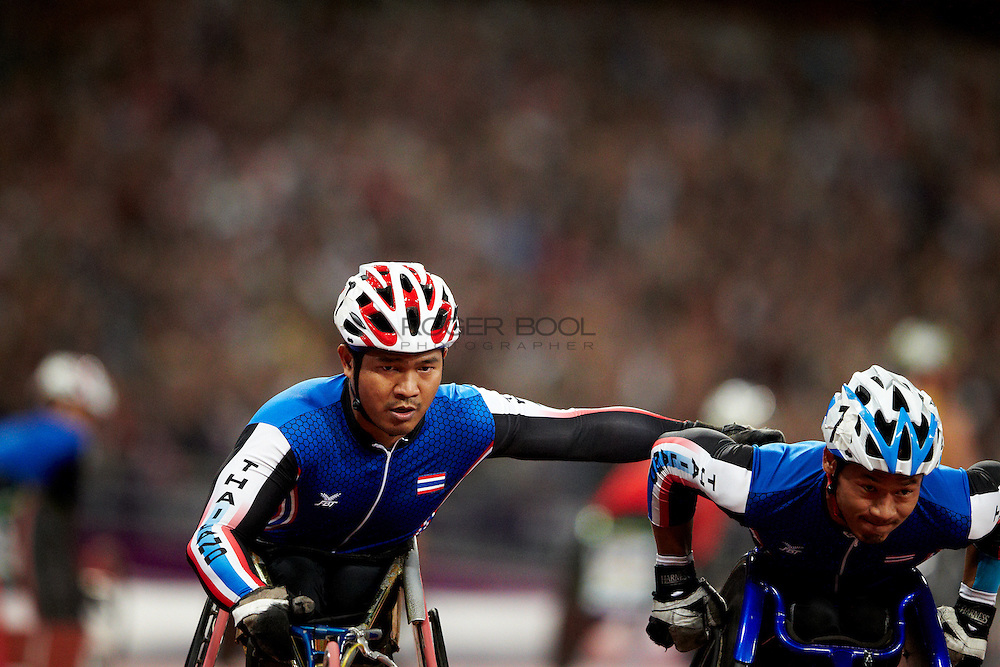 KOYSUB Supachai, KONJEN Saichon, INTASEN Sopa and  .WAHORAM Prawat of Thailand in the Men's 4 x 400m Relay ? T53/54 Final at the Olympic Stadium on day 10 of the London 2012 Paralympic Games. 8th September 2012..