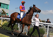 Jockey Andrea Atzeni on Delaire in the parade ring before the 3.20 race at Brighton Racecourse, Brighton & Hove, United Kingdom on 10 June 2015. Photo by Bennett Dean.
