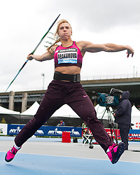 adidas Grand Prix Diamond League professional track & field meet: womens javelin throw, Mariya ABAKUMOVA, Russia