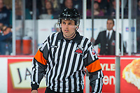 REGINA, SK - MAY 25: Referee Jeff Ingram stands on the ice at the Regina Pats against the Hamilton Bulldogs at the Brandt Centre on May 25, 2018 in Regina, Canada. (Photo by Marissa Baecker/CHL Images)