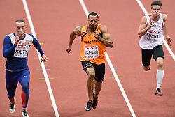 07-03-2015 CZE: European Athletics Indoor Championships, Prague<br /> Brian Mariano NED heeft de halve finales bereikt van de 60 meter. Links Richard Kilty GBR