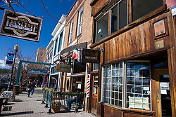 View of shops in historic downtown Truckee, California, United States of America
