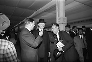 05/05/1965<br /> 05/05/1965<br /> 05 May 1965<br /> President Eamon de Valera visits the RDS Spring Show at Ballsbridge Dublin. President de Valera chatting with Mr. J.J. Kernopan, B.Agr. (on right) Secretary Manager of the Royal Ulster Agriculture Society. Mr. J. Meenan, M.A. BL., Chairman of the Executive Committee of the RDS is on the left.