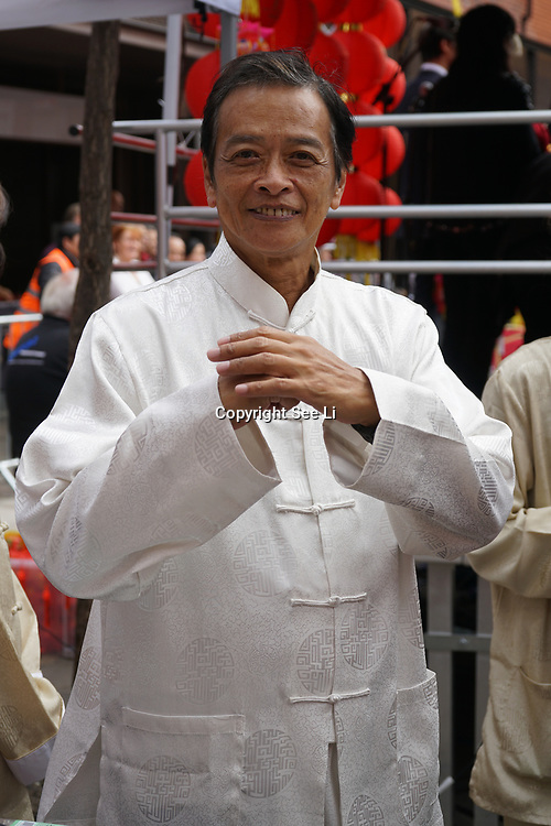 Chinatown, London, England, UK. 7th October 2017. John Leung's is the Master of Institute of Interior Martial Arts at Moon Festival 2017 also known as Mid-Autumn Festival 2017 a tradition celebration for Chinese people all over the globe.