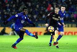 David Silva of Manchester City passes the ball forward past Daniel Amartey of Leicester City - Mandatory by-line: Robbie Stephenson/JMP - 10/12/2016 - FOOTBALL - King Power Stadium - Leicester, England - Leicester City v Manchester City - Premier League