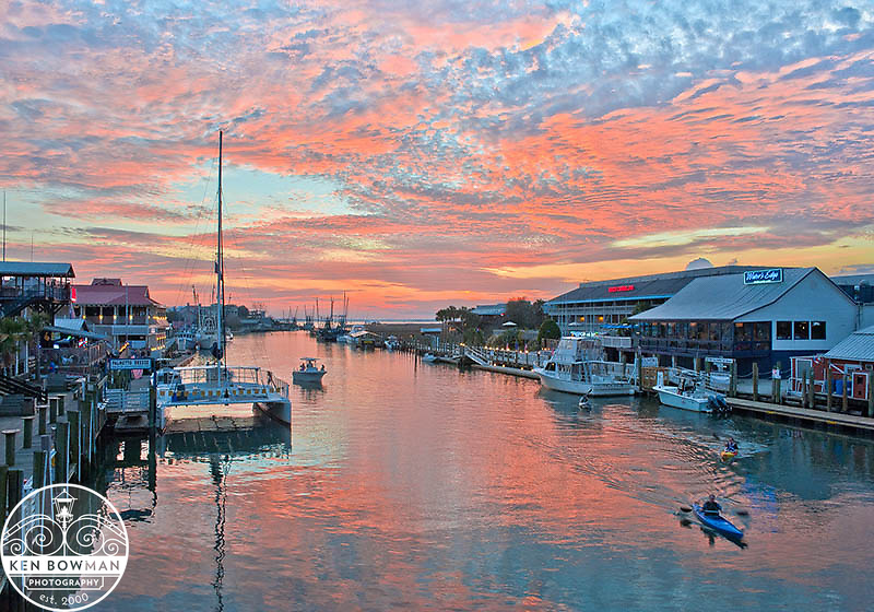 Shem Creek red sky sunset from Coleman Bridge