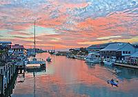 Shem Creek red sky sunset from Coleman Bridge