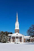 Charming church in winter snow, Moorestown, New Jersey, USA.