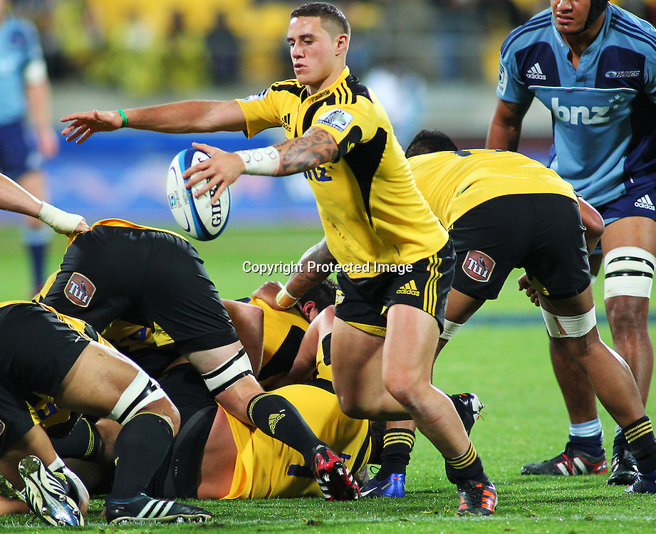 Hurricanes' halfback TJ Perenara during their Super Rugby match, Hurricanes v Blues, Westpac stadium, Wellington, New Zealand. Friday 4 May 2012.  PHOTO: Grant Down / photosport.co.nz