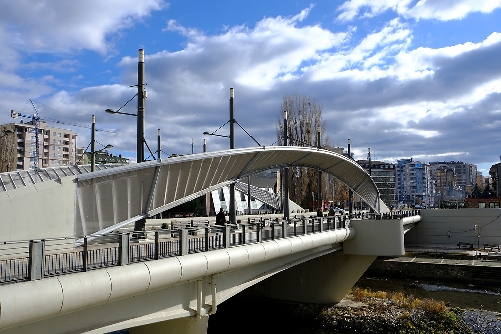 The Mitrovica bridge, over the river Ibar which separates the Serbian and Albanian districts of Mitrovica, Kosovo on the 12th of December 2018, it was rebuilt with funding from the EU. Mitrovica or Kosovska Mitrovica is a city and municipality located in Kosovo. Settled on the banks of Ibar and Sitnica rivers, the city is the administrative center of the Mitrovica District.  (photo by Andrew Aitchison / In pictures via Getty Images)