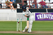 Wicket - James Harris of Middlesex loses his middle stump as he is bowled by Craig Overton of Somerset during the Specsavers County Champ Div 1 match between Somerset County Cricket Club and Middlesex County Cricket Club at the Cooper Associates County Ground, Taunton, United Kingdom on 26 September 2017. Photo by Graham Hunt.