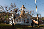 Small, white chapel in landscape around Allegheny Mountains. West Virginia. United States of America.