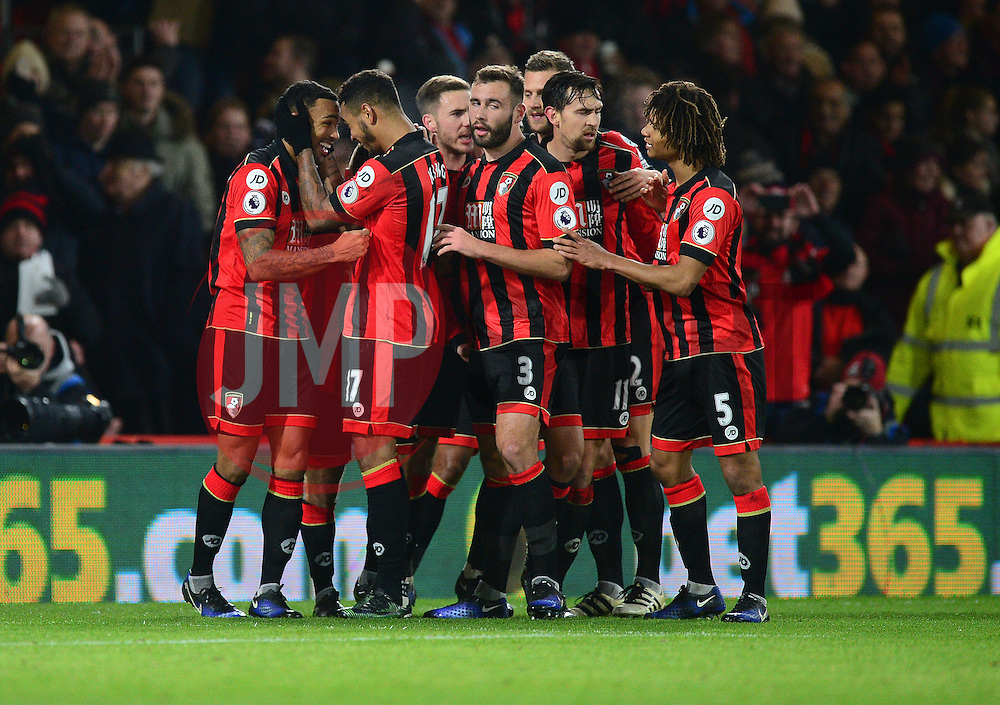 Callum Wilson of Bournemouth celebrates with Joshua King of Bournemouth - Mandatory by-line: Alex James/JMP - 03/01/2017 - FOOTBALL - Vitality Stadium - Bournemouth, England - Bournemouth v Arsenal - Premier League