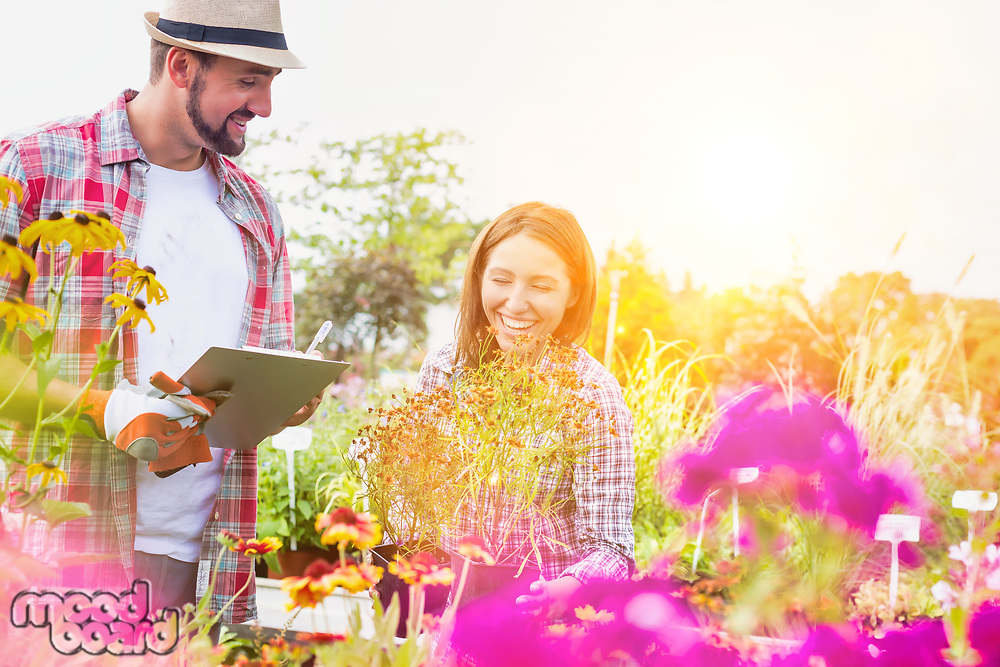 Portrait of mature gardener writing report on clipboard while female gardener arranging flowers on pot