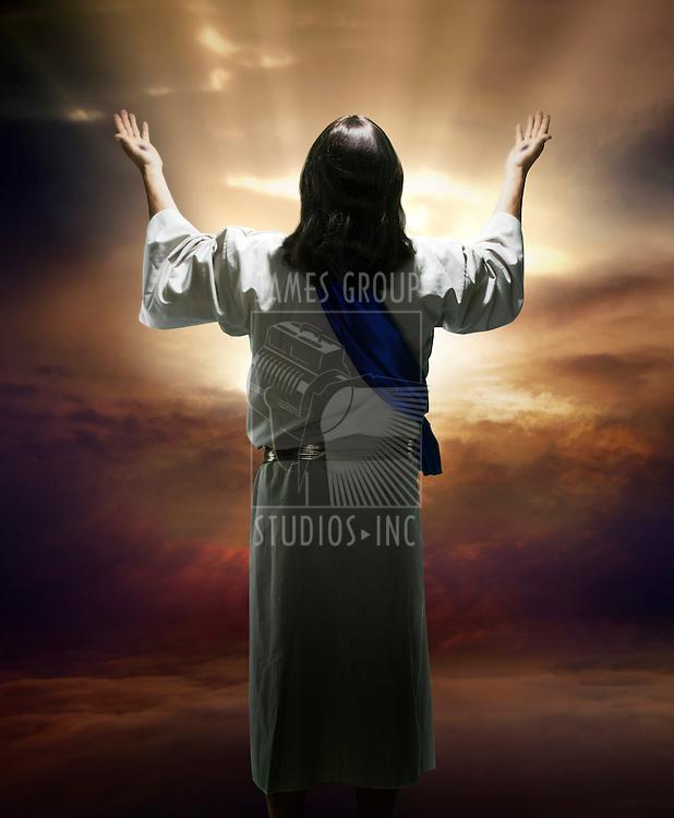 Image of the resurrected Christ against a sunburst