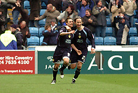 Photo: Leigh Quinnell.<br /> Coventry City v Leeds United. Coca Cola Championship. 18/03/2006. Leeds Shaun Derry(R) congratulates David Healy on his penalty.