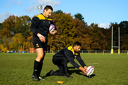Lima Sopoaga and Jimmy Gopperth of Wasps during training ahead of the European Challenge Cup fixture against SU Agen - Mandatory by-line: Robbie Stephenson/JMP - 18/11/2019 - RUGBY - Broadstreet Rugby Football Club - Coventry , Warwickshire - Wasps Training Session