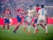 Koke of Atlerico Madrid beats Dimitri Payet of Marseille during the Europa League Final match between Olympique de Marseille and Atletico Madrid at Orange Velodrome, Marseille, France on 16 May 2018. Picture by Ahmad Morra.