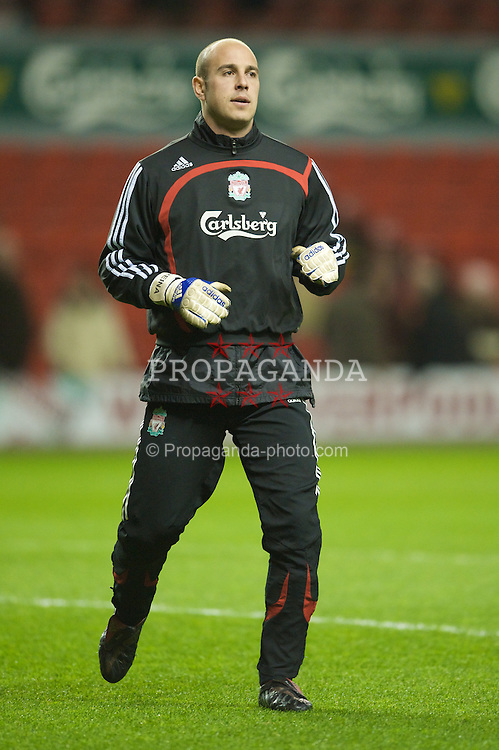 LIVERPOOL, ENGLAND - Wednesday, March 5, 2008: Liverpool's goalkeeper Jose Pepe Reina warms-up before the Premiership match against West Ham United at Anfield. (Photo by David Rawcliffe/Propaganda)