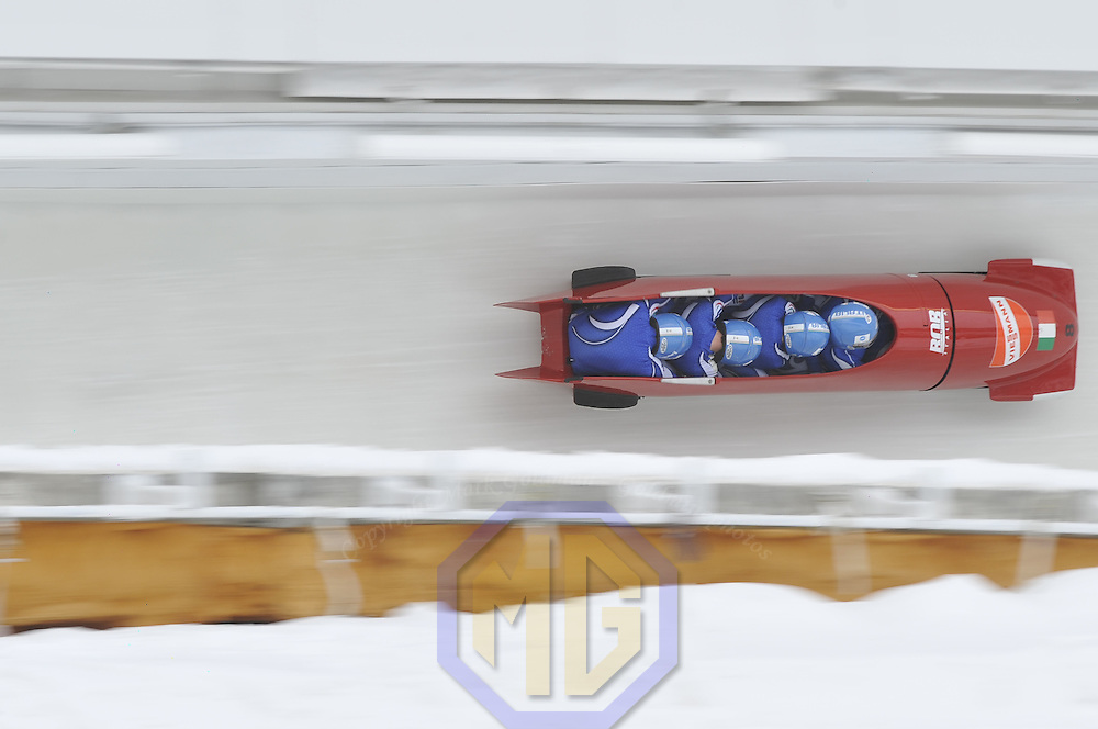 16 December 2007:  The Italy 2 four-man bobsled driven by Fabrizio Tosini with Gianluca, Andreas Mayrl and brakeman Danilo Santarsiero compete at the FIBT World Cup 4-Man bobsled competition on December 16, 2007 at the Olympic Sports Complex in Lake Placid, NY.  The Russia 2 sled driven by Alexandr Zubkov won the race with a time of 1:48.79.