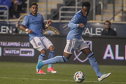April 14, 2017 - Chester, PA, United States of America - New York City FC Attacker RODNEY WALLACE (23) dribbles down the field in the first half of a Major League Soccer match between the Philadelphia Union and New York City FC Friday, A (Credit Image: © Saquan Stimpson via ZUMA Wire)