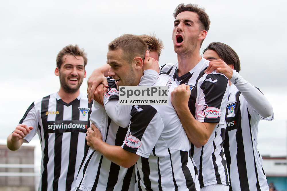 Stenhousemuir v Dunfermline Athletic SPFL League One Season 2015/16 Ochilview Park 19 September 2015<br /> Ryan Wallace and Shaun Byrne celebates Joe Cardles opening goal <br /> CRAIG BROWN | sportPix.org.uk