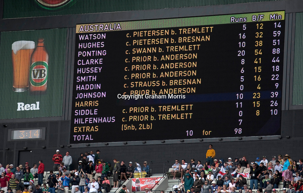 The scoreboard as England bowl out Australia for 98 during the fourth Ashes test match at the MCG in Melbourne, Australia. Photo: Graham Morris (Tel: +44(0)20 8969 4192 Email: sales@cricketpix.com) 26/12/10