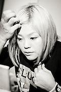 Den japanska proffswrestlern (professionella fribrottaren) Nanae Takahashi g&ouml;r sig redo inf&ouml;r kv&auml;llen match i Hakata, Japan. <br /> <br /> Nanae Takahashi is getting ready for a wrestling in Hakata, Japan. Nanae Takahashi is a Japanese professional wrestler. She has wrestled for prominent Japanese promotions All Japan Women's Pro-Wrestling and Pro Wrestling Sun, and has held multiple world championships.