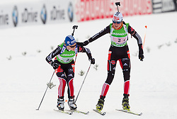 Miriam Goessner and Tina Bachmann of Germany during the Mixed 2x6 + 2x7,5km relay of the e.on IBU Biathlon World Cup on Saturday, December 19, 2010 in Pokljuka, Slovenia. The fourth e.on IBU World Cup stage is taking place in Rudno polje - Pokljuka, Slovenia until Sunday December 19, 2010. (Photo By Vid Ponikvar / Sportida.com)