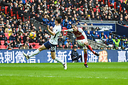Arsenal Defender Hector Bellerin (24) takes a shot on goal during the Premier League match between Tottenham Hotspur and Arsenal at Wembley Stadium, London, England on 10 February 2018. Picture by Stephen Wright.