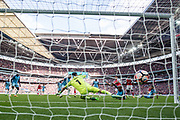 Arsenal defender Nacho Monreal (18) goal during the The FA Cup semi final match between Arsenal and Manchester City at the Emirates Stadium, London, England on 23 April 2017. Photo by Sebastian Frej.