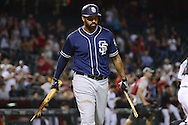 PHOENIX, AZ - JULY 05:  Matt Kemp #27 of the San Diego Padres breaks his bat after striking out in the ninth inning against the Arizona Diamondbacks at Chase Field on July 5, 2016 in Phoenix, Arizona.  (Photo by Jennifer Stewart/Getty Images)