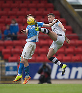 Dundee&rsquo;s Darren O&rsquo;Dea denies St Johnstone&rsquo;s Steven MacLean - St Johnstone v Dundee, Ladbrokes Scottish Premiership at McDiarmid Park, Perth. Photo: David Young<br /> <br />  - &copy; David Young - www.davidyoungphoto.co.uk - email: davidyoungphoto@gmail.com