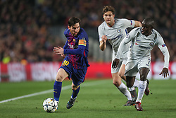 March 14, 2018 - Barcelona, Spain - LIONEL MESSI of FC Barcelona evades NGOLO KANTE of Chelsea FC during the UEFA Champions League, round of 16, 2nd leg football match between FC Barcelona and Chelsea FC on March 14, 2018 at Camp Nou stadium in Barcelona, Spain (Credit Image: © Manuel Blondeau via ZUMA Wire)
