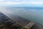 Nederland, Friesland,Gemeente Dongeradeel, 04-11-2018; Noord-Friesland Buitendijks, kweldergebied Noorderleeg. Waddenkust en landaanwinning, ter hoogte van Holwerd (Holwert), veerdam voor boot naar Ameland.<br /> Fries: Noarderleech , onderdeel van Noard-Fryslân Bûtendyks.<br /> Frisian coast, salt marsh and mudflat area with land reclamation.<br /> luchtfoto (toeslag op standaard tarieven);<br /> aerial photo (additional fee required);<br /> copyright © foto/photo Siebe Swart