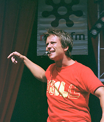 """Rich, (full Name Richard Neville) of the Boy band Five performing on stage at """" Feel The Noise"""". A Local Radio stations  (Rock FM)  charity pop event which was held at Blackburn Rovers Football Ground Saturday 2nd June 2001."""
